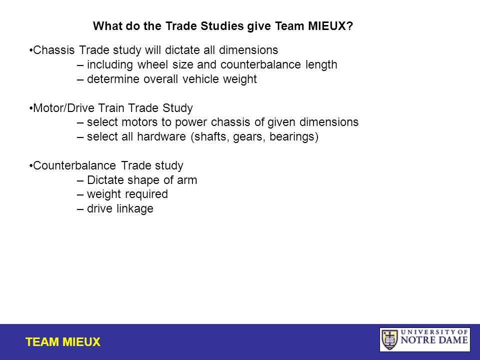 TEAM MIEUX What do the Trade Studies give Team MIEUX.