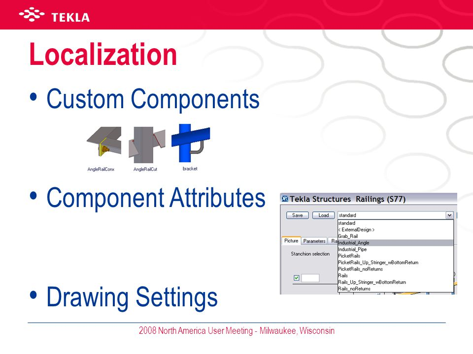 2008 North America User Meeting - Milwaukee, Wisconsin Localization Custom Components Component Attributes Drawing Settings