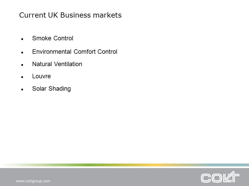 Current UK Business markets Environmental Comfort Control Natural Ventilation Louvre Solar Shading Smoke Control