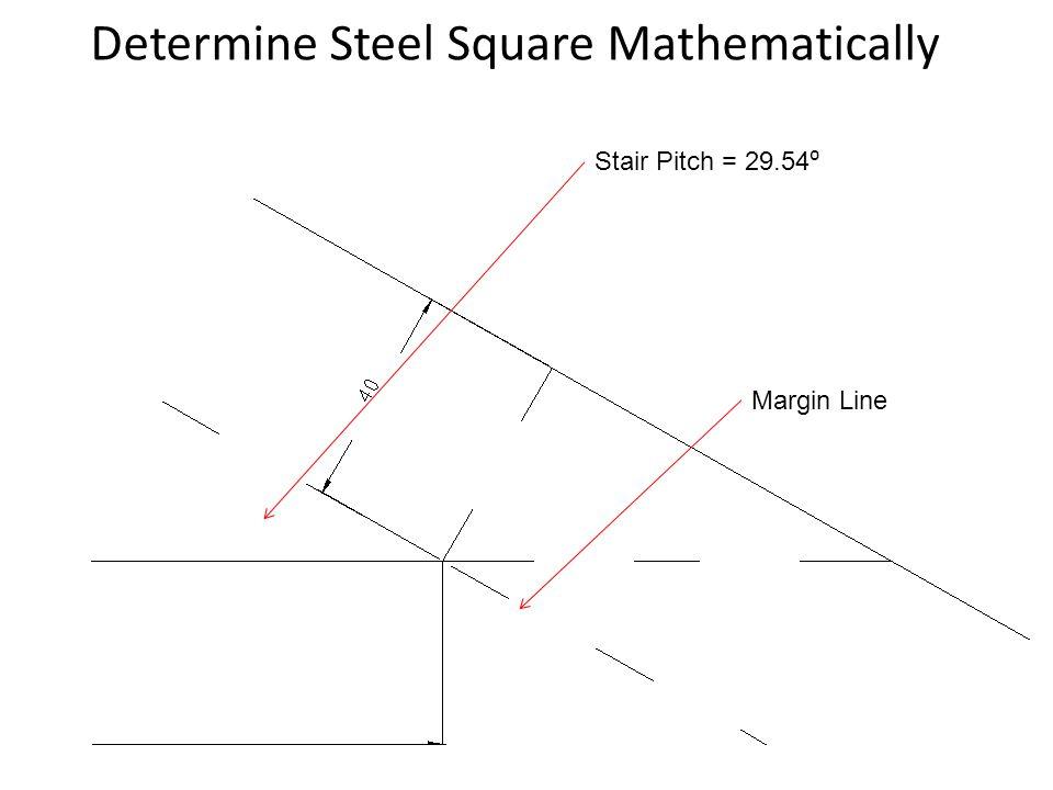 Determine Steel Square Mathematically Margin Line Stair Pitch = 29.54 ⁰