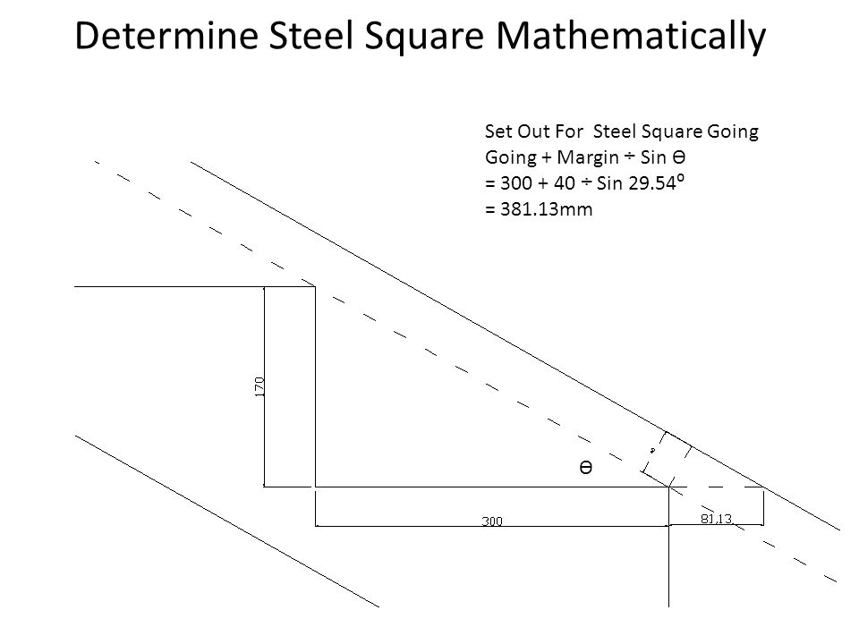 Determine Steel Square Mathematically Set Out For Steel Square Going Going + Margin ÷ Sin Ѳ = 300 + 40 ÷ Sin 29.54⁰ = 381.13mm Ѳ