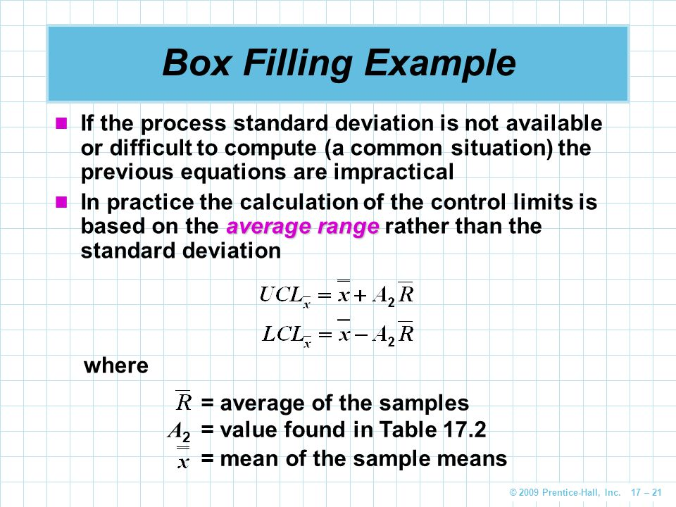 © 2009 Prentice-Hall, Inc. 17 – 21 Box Filling Example If the process standard deviation is not available or difficult to compute (a common situation)