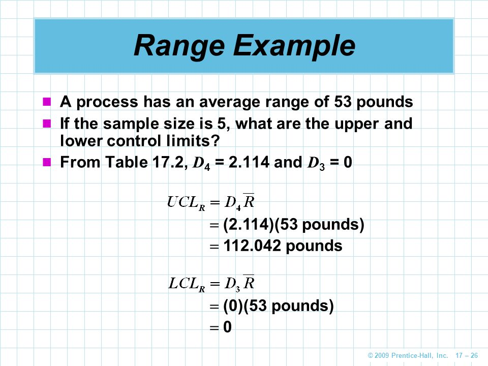 © 2009 Prentice-Hall, Inc. 17 – 26 A process has an average range of 53 pounds If the sample size is 5, what are the upper and lower control limits? F