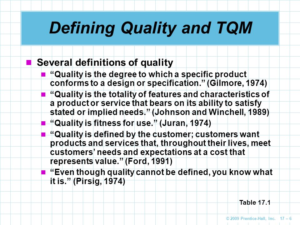 "© 2009 Prentice-Hall, Inc. 17 – 6 Several definitions of quality ""Quality is the degree to which a specific product conforms to a design or specificat"