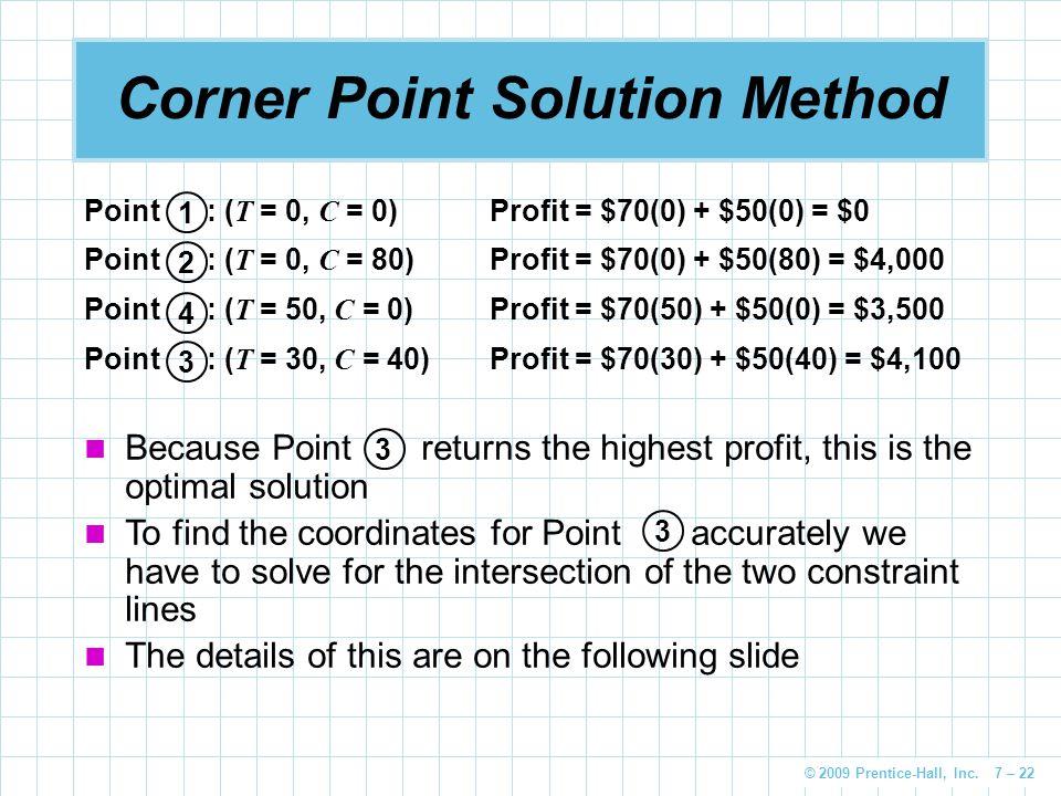 © 2009 Prentice-Hall, Inc. 7 – 22 Corner Point Solution Method 3 1 2 4 Point : ( T = 0, C = 0)Profit = $70(0) + $50(0) = $0 Point : ( T = 0, C = 80)Pr