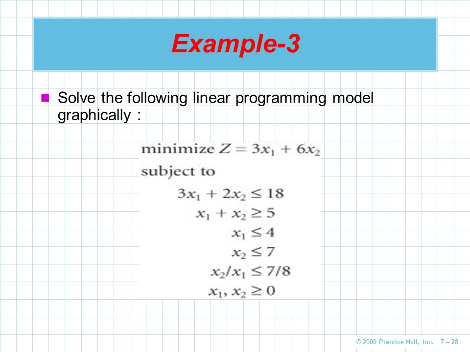 © 2009 Prentice-Hall, Inc. 7 – 28 Example-3 Solve the following linear programming model graphically :