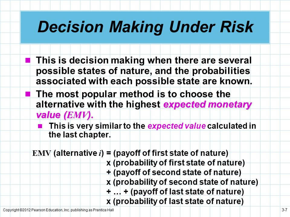 Copyright ©2012 Pearson Education, Inc. publishing as Prentice Hall 3-7 Decision Making Under Risk This is decision making when there are several poss