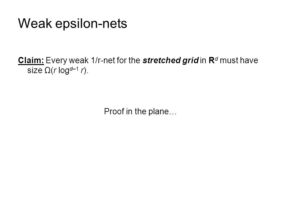 Weak epsilon-nets Claim: Every weak 1/r-net for the stretched grid in R d must have size Ω(r log d–1 r). Proof in the plane…