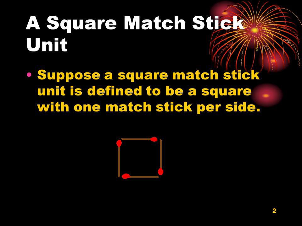 2 A Square Match Stick Unit Suppose a square match stick unit is defined to be a square with one match stick per side.