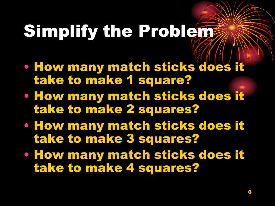 7 Make a Chart SquaresMatch Sticks 14 27 310 413