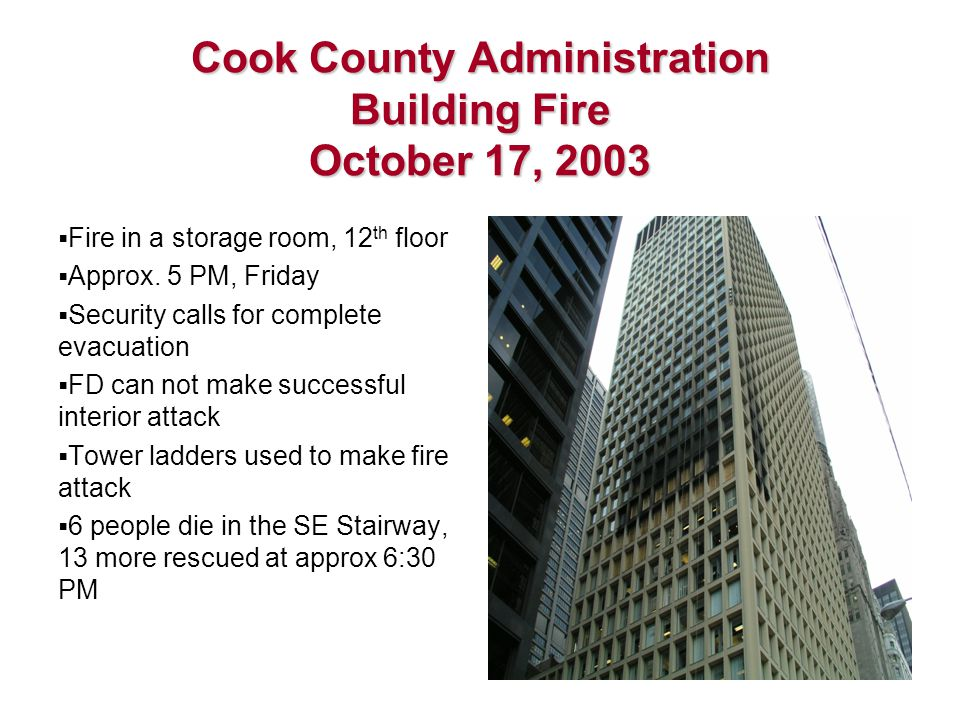 Cook County Administration Building Fire October 17, 2003  Fire in a storage room, 12 th floor  Approx.