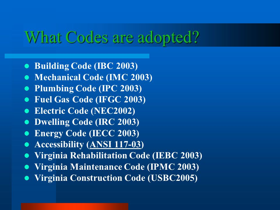 What Codes are adopted.