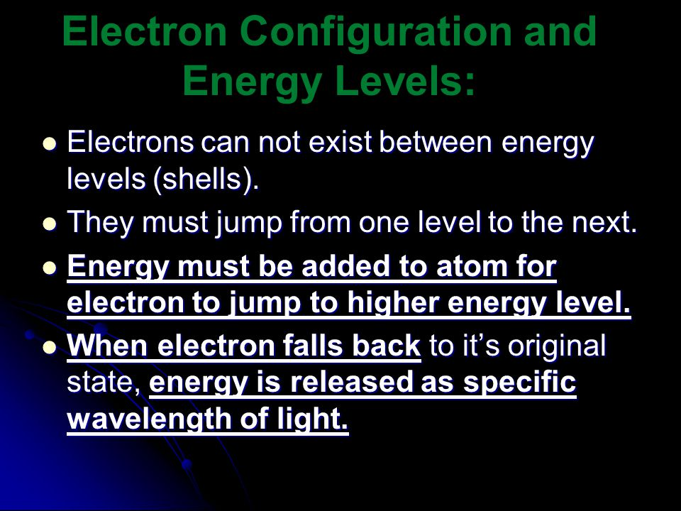 Electrons can not exist between energy levels (shells).