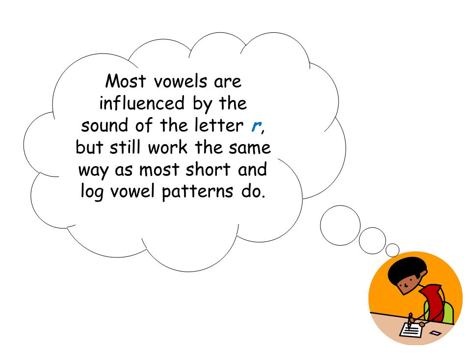 Most vowels are influenced by the sound of the letter r, but still work the same way as most short and log vowel patterns do.