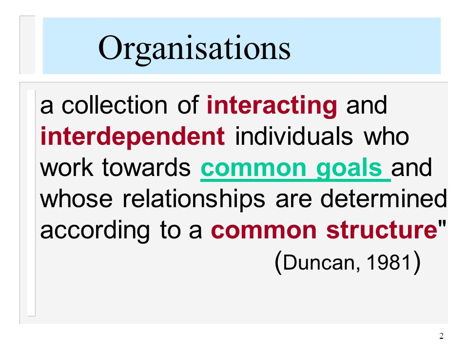 2 a collection of interacting and interdependent individuals who work towards common goals and whose relationships are determined according to a commo