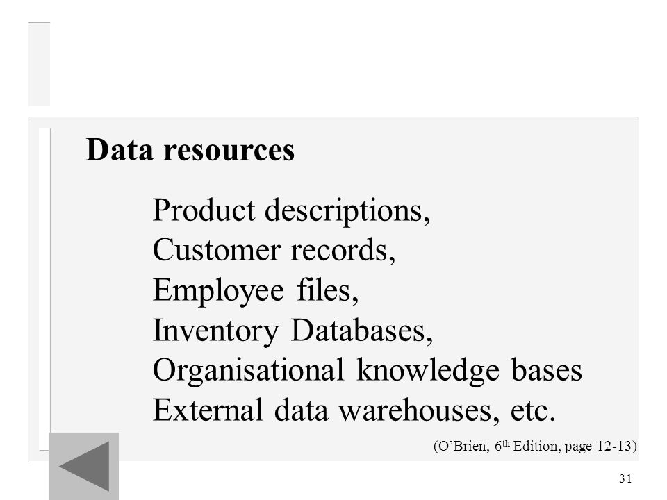 31 Data resources Product descriptions, Customer records, Employee files, Inventory Databases, Organisational knowledge bases External data warehouses