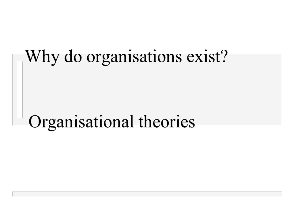 Why do organisations exist? Organisational theories