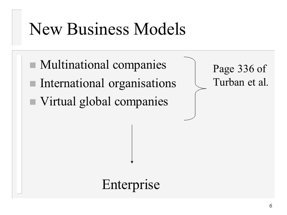 6 New Business Models n Multinational companies n International organisations n Virtual global companies Page 336 of Turban et al.