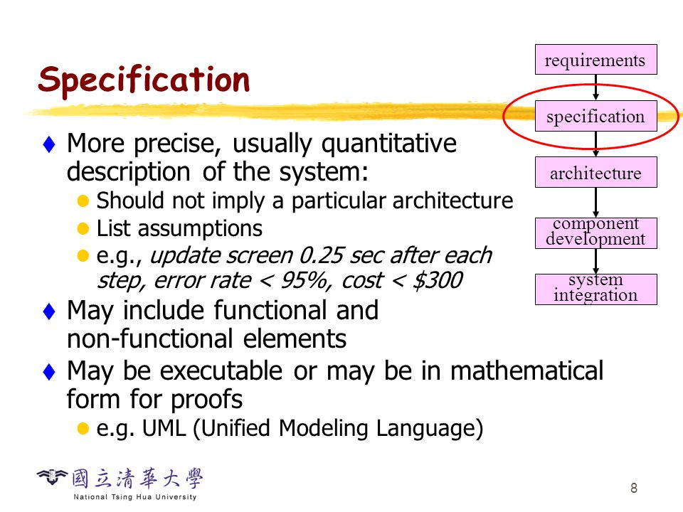 8 Specification  More precise, usually quantitative description of the system: Should not imply a particular architecture List assumptions e.g., upda