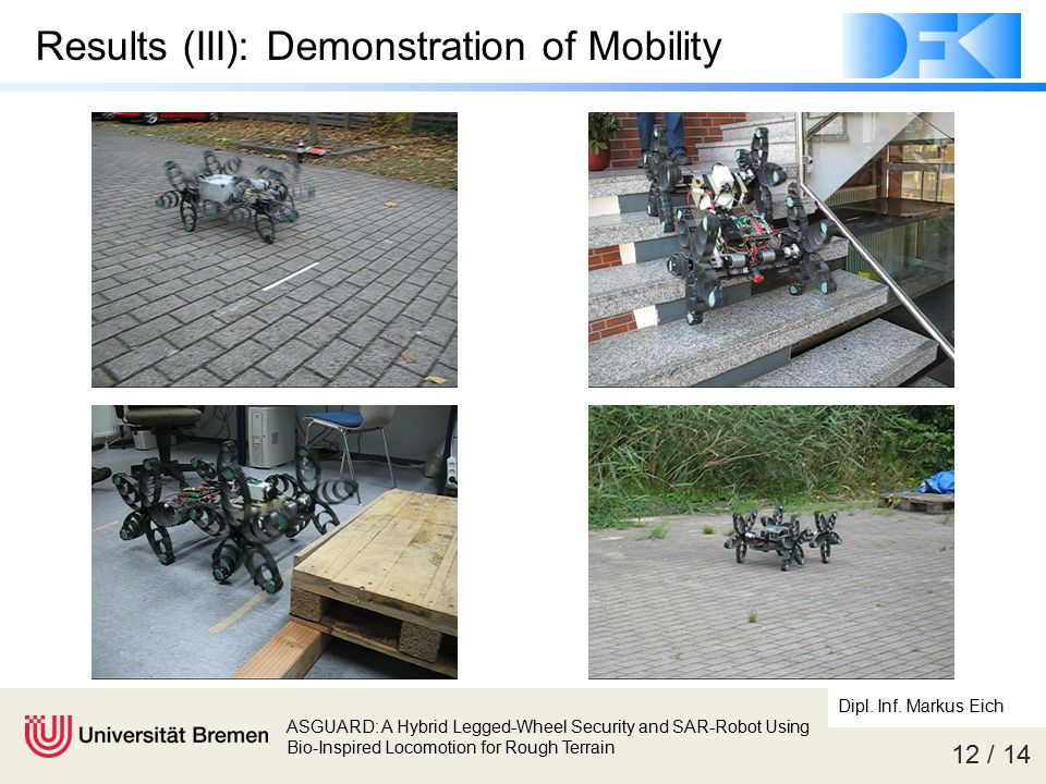 12 / 14 ASGUARD: A Hybrid Legged-Wheel Security and SAR-Robot Using Bio-Inspired Locomotion for Rough Terrain Dipl. Inf. Markus Eich Results (III): De