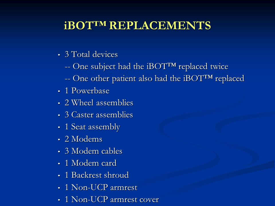 iBOT™ REPLACEMENTS 3 Total devices 3 Total devices -- One subject had the iBOT™ replaced twice -- One other patient also had the iBOT™ replaced 1 Powe