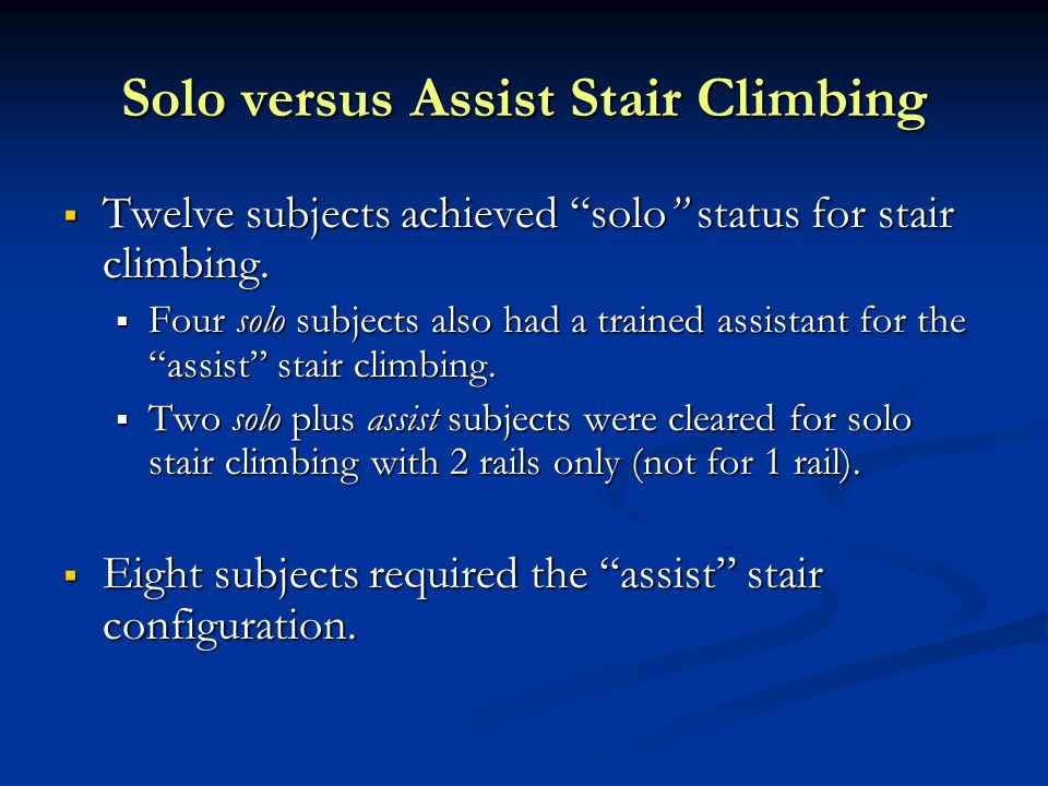 """Solo versus Assist Stair Climbing  Twelve subjects achieved """"solo"""" status for stair climbing.  Four solo subjects also had a trained assistant for t"""