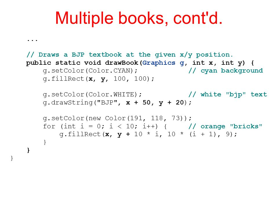 Multiple books, cont d.... // Draws a BJP textbook at the given x/y position.