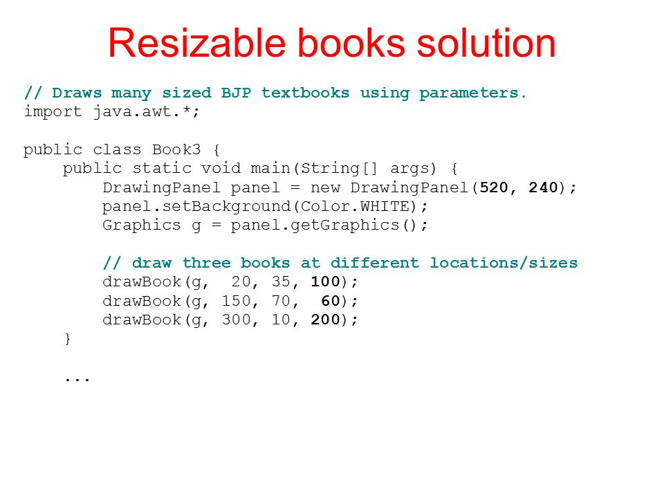 Resizable books solution // Draws many sized BJP textbooks using parameters.