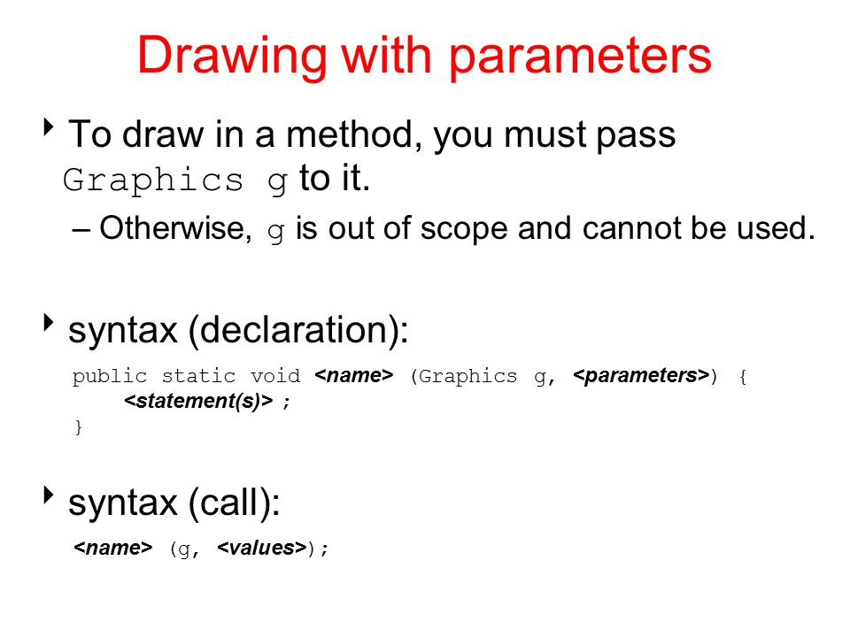 Drawing with parameters  To draw in a method, you must pass Graphics g to it.