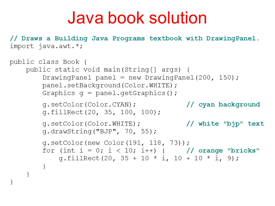 Java book solution // Draws a Building Java Programs textbook with DrawingPanel.