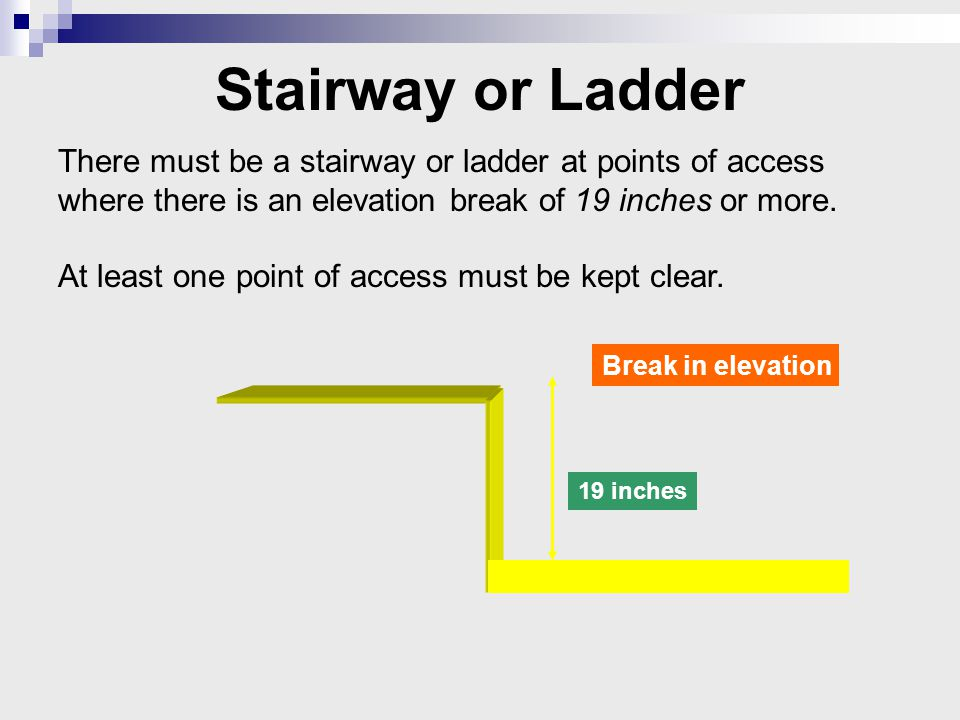 There must be a stairway or ladder at points of access where there is an elevation break of 19 inches or more.
