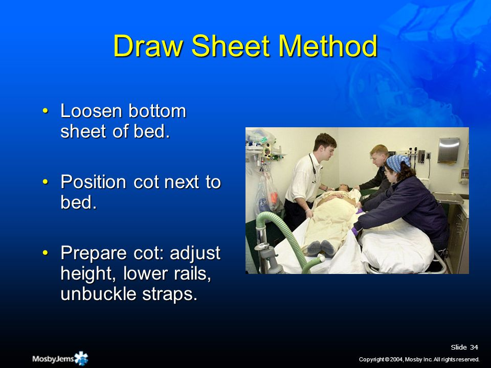 Draw Sheet Method Loosen bottom sheet of bed.Loosen bottom sheet of bed.