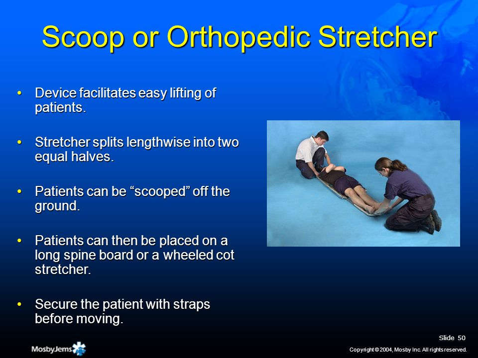 Scoop or Orthopedic Stretcher Device facilitates easy lifting of patients.Device facilitates easy lifting of patients.