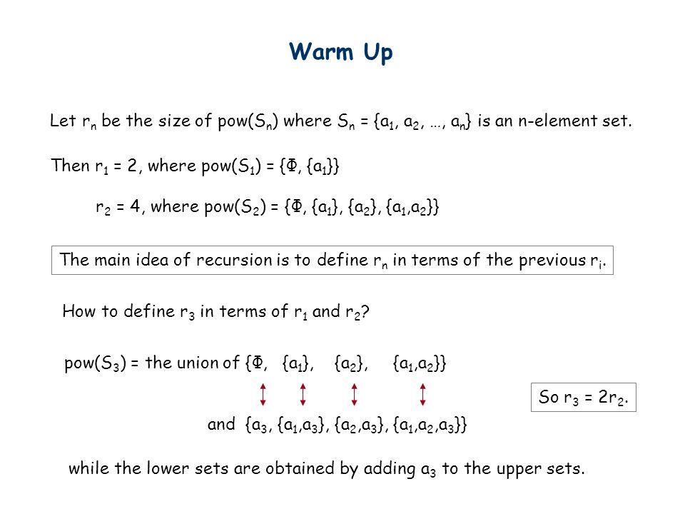 Warm Up Let r n be the size of pow(S n ) where S n = {a 1, a 2, …, a n } is an n-element set. Then r 1 = 2, where pow(S 1 ) = {Ф, {a 1 }} r 2 = 4, whe