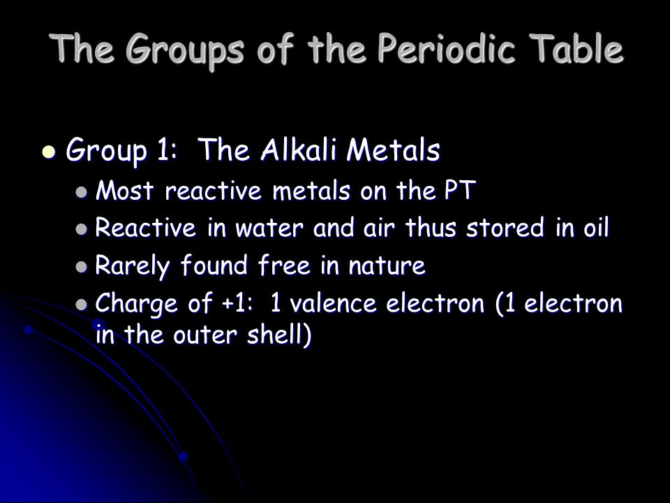 The Groups of the Periodic Table Group 2: The Alkaline Earth Metals Still quite reactive Still quite reactive React with water to form bases and hydrogen gas React with water to form bases and hydrogen gas Have a silvery luster Have a silvery luster Good conductors of heat and electricity Good conductors of heat and electricity Charge of +2: 2 valence electrons (2 electrons in outer shell) Charge of +2: 2 valence electrons (2 electrons in outer shell)