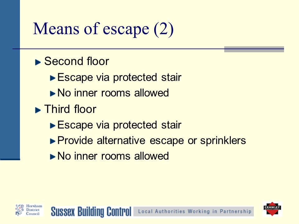 Means of escape (2) Second floor Escape via protected stair No inner rooms allowed Third floor Escape via protected stair Provide alternative escape o