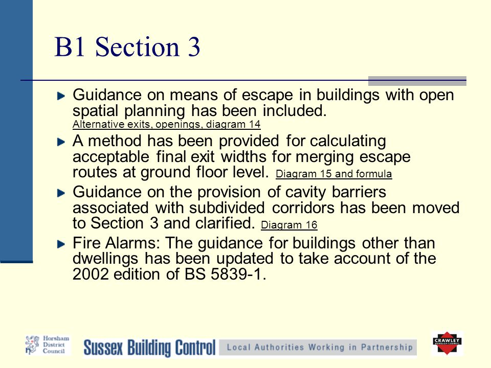 B1 Section 3 Guidance on means of escape in buildings with open spatial planning has been included. Alternative exits, openings, diagram 14 A method h
