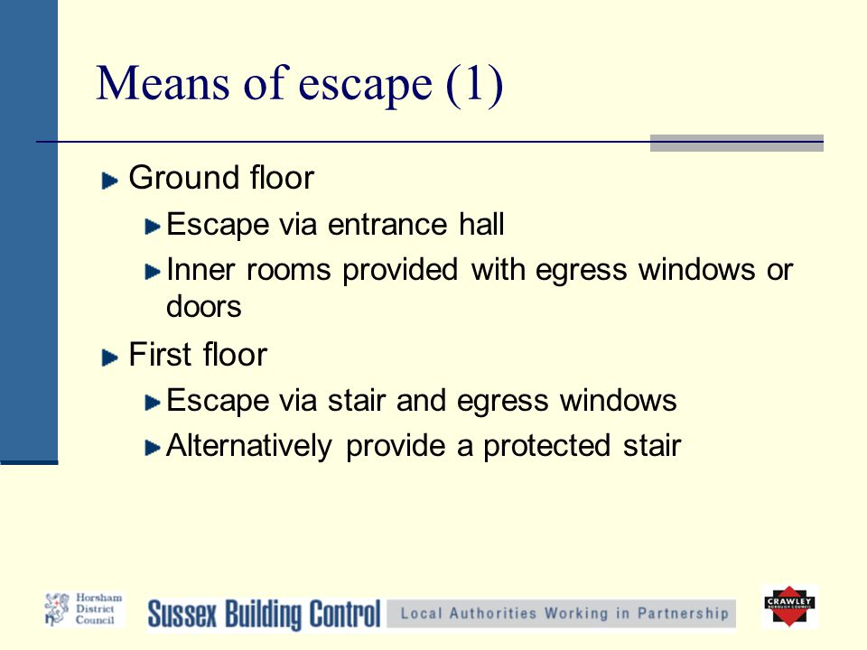 Means of escape (1) Ground floor Escape via entrance hall Inner rooms provided with egress windows or doors First floor Escape via stair and egress wi