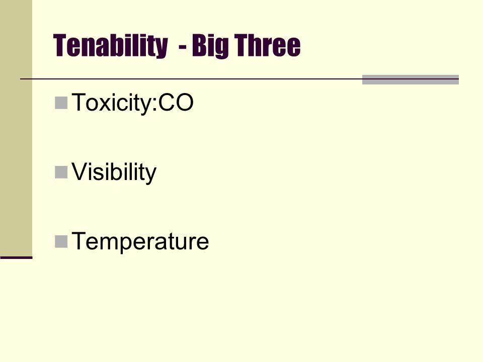 Tenability - Big Three Toxicity:CO Visibility Temperature