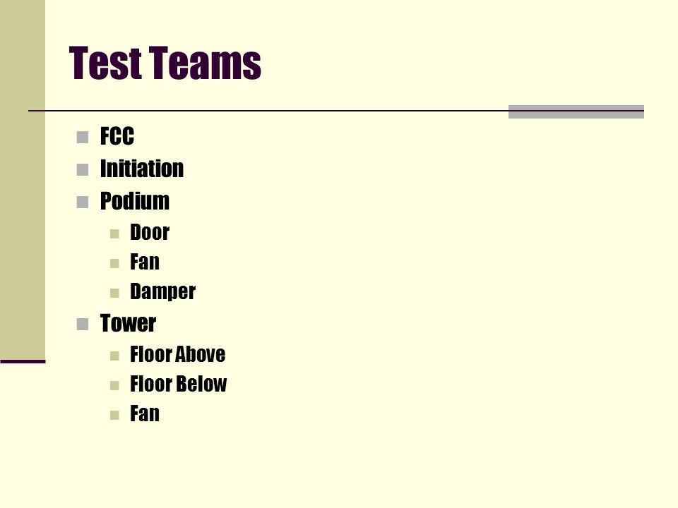 Test Teams FCC Initiation Podium Door Fan Damper Tower Floor Above Floor Below Fan