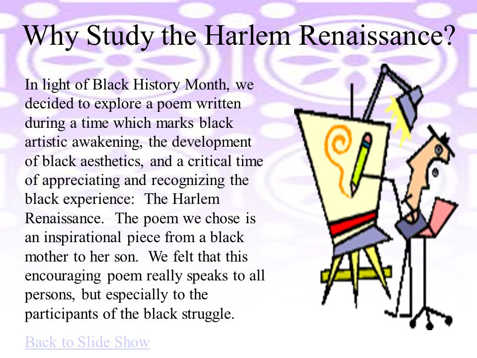 Why Study the Harlem Renaissance.