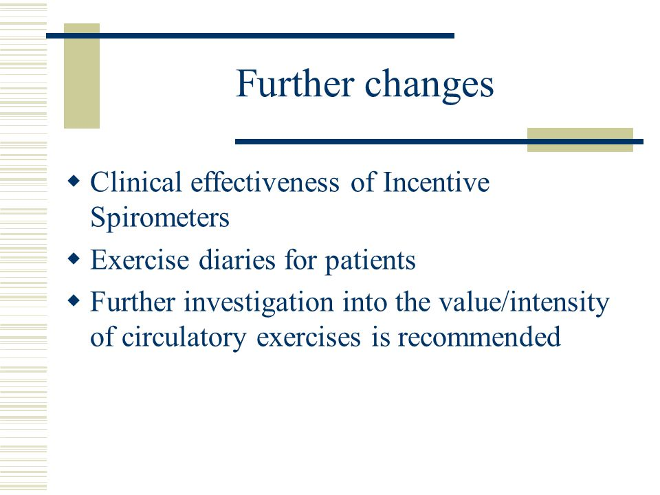 Further changes  Clinical effectiveness of Incentive Spirometers  Exercise diaries for patients  Further investigation into the value/intensity of circulatory exercises is recommended
