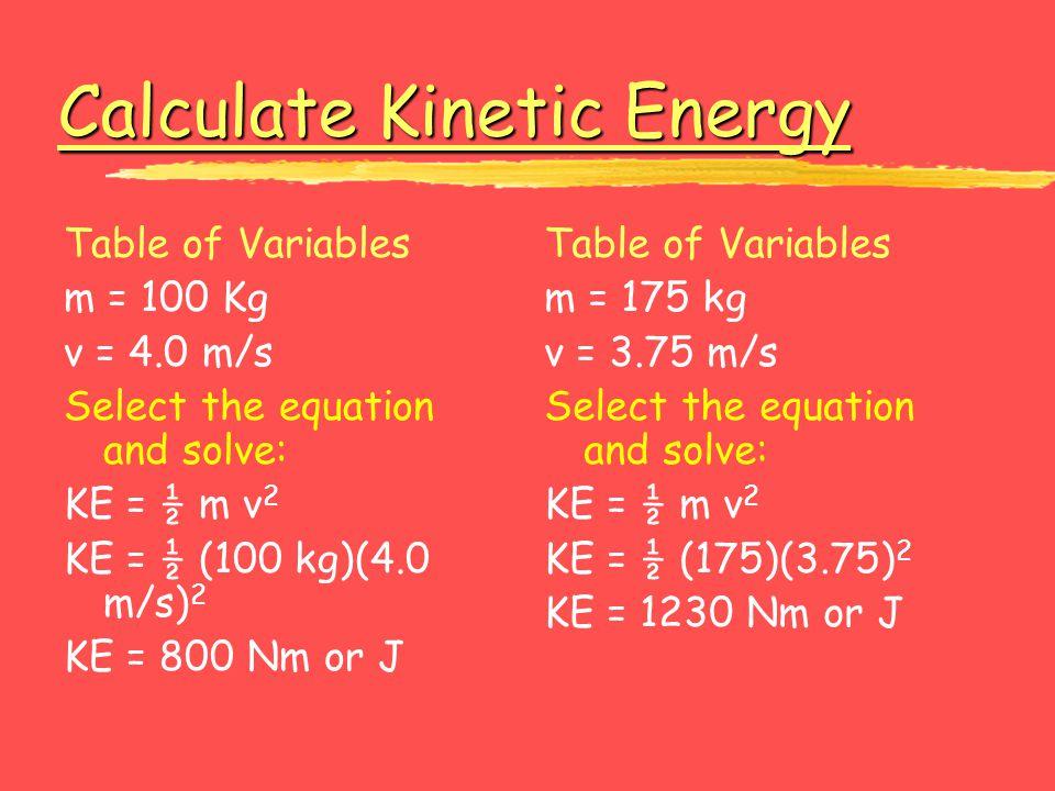 Calculate Kinetic Energy Calculate Kinetic Energy Table of Variables m = 100 Kg v = 4.0 m/s Select the equation and solve: KE = ½ m v 2 KE = ½ (100 kg