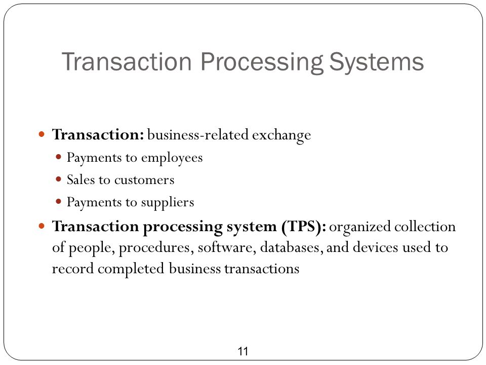 Transaction Processing Systems 11 Transaction: business-related exchange Payments to employees Sales to customers Payments to suppliers Transaction pr