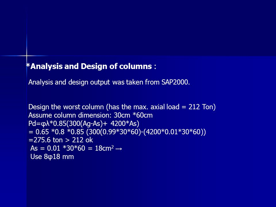 *Analysis and Design of columns : Analysis and design output was taken from SAP2000. Design the worst column (has the max. axial load = 212 Ton) Assum