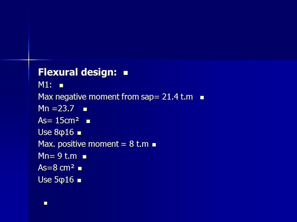 Flexural design: Flexural design: M1: M1: Max negative moment from sap= 21.4 t.m Max negative moment from sap= 21.4 t.m Mn =23.7 Mn =23.7 As= 15cm² As