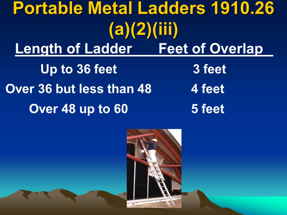 Portable Metal Ladders 1910.26 (a)(2)(iii) Length of LadderFeet of Overlap Up to 36 feet Over 36 but less than 48 Over 48 up to 60 3 feet 4 feet 5 fee
