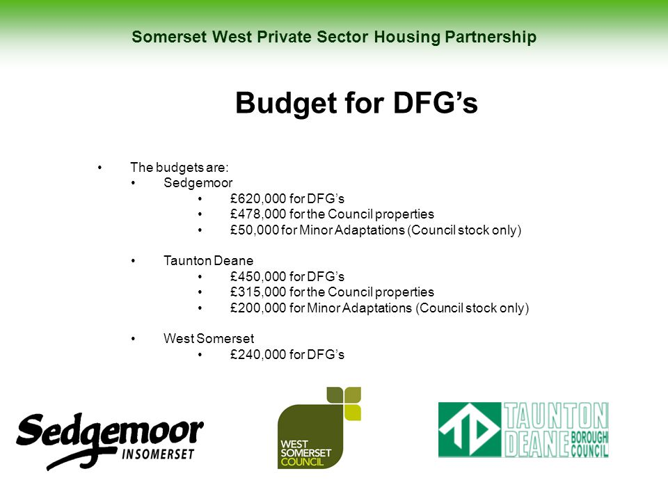 Somerset West Private Sector Housing Partnership Budget for DFG's The budgets are: Sedgemoor £620,000 for DFG's £478,000 for the Council properties £5