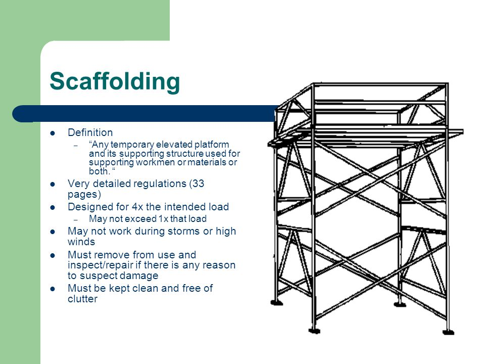 Scaffolding Definition – Any temporary elevated platform and its supporting structure used for supporting workmen or materials or both.
