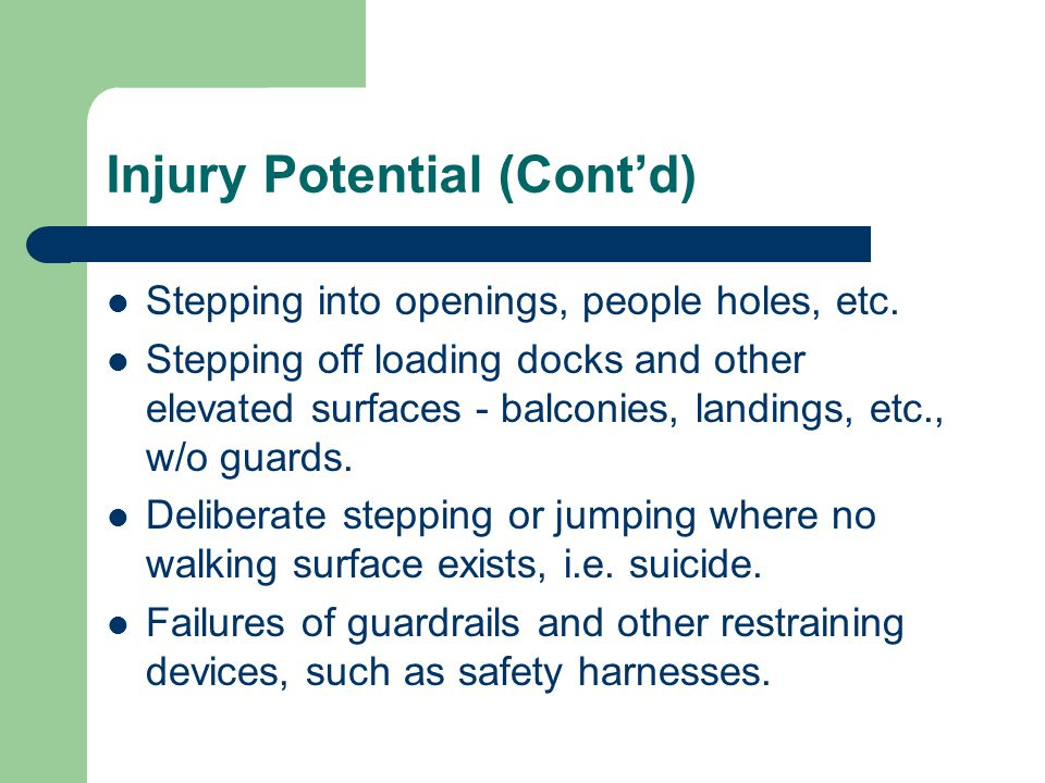 Ladders (cont'd) – Pitch of a ladder: 75-90 degrees for portable and fixed ladders.